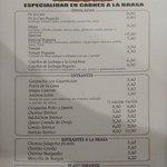 Carta de ensaladas, entrantes y platos infantiles