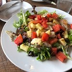 Summer salad with grouper, grilled watermelon and pineapple.