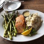 Canadian Salmon,asparagus, garlic redskin mashed potatoes