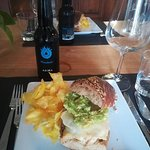 Special lunch sandwich at Freihof by Debbie. Tuna and avocado melt with homemade chips.