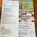 Weekly specials menu