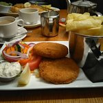 Luxury Fish Cakes with Chips.