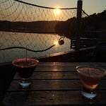 pre dinner drinks , romantic sunset on the deck