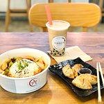 Three cup chicken (spicy), veg gyoza, classic pearl milk tea