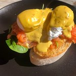 Salmon Eggs Benedict. Very tasty and generous portion.