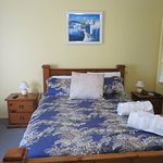 Bed in blue room