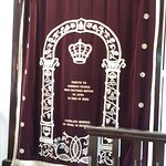 The Holy Ark and the curtain in Ohel Moshe Synagogue.