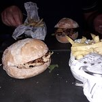 Classic chicken burger and a cheeseburger