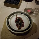 3rd course, the plate sat on smoking coals, wallaby tartare