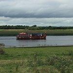 "The ""viking boat"" departing after leaving us at Clonmacnoise"