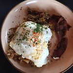 Smoked Pork Hash with Eggs and Bacon