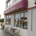 Outdoor seating at Vagabond Blues, 642 S. Alaska St at W. Dahlia Ave, Palmer, Alaska.