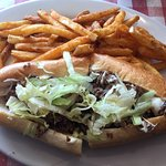 Cheese steak with fries