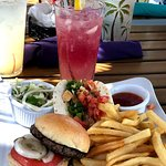 Sampler (slider, fish taco, fries) and cranberry lemonade