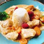 Thai-Cocos-Curry mit Reis und Putenbrustwürfeln