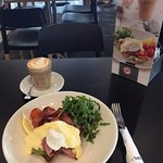 this is avo smash at coffee club but with the extra white sauce note the yummy cherry tomatoes