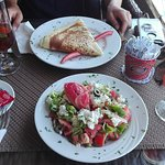 Greek Salad and Vegetables Crepe. Two black teas with mint