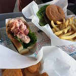 lobster roll, burger and fries, fried mac and cheese
