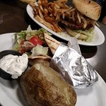 The Trooper burger and fries, Chicken Pita and baked potato