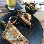 Rueben Sandwich & Beer at Flying Squirrel Bar in Chattanooga TN.