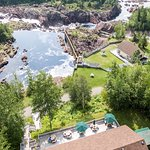 A drone view of our beautiful site on the Exploits River.