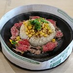 Pepper beef and rice