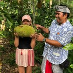 At the coffee plantation with a jackfruit