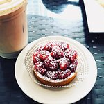 A Raspberry Tart and Iced Coffee