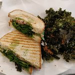 The sandwich was good (pesto hummus with veggies inside) but the kale chips were awful/bitter!