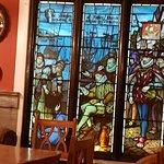 A fine stained glass window in the dining room