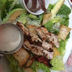 Fresh, tasty chargrilled chicken with anchovies and Caesar dressing on the side , yummy