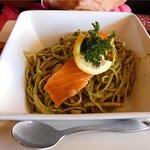 Smoke Salmon Pesto Pasta
