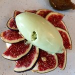 Black fig and plum tart with thyme icecream