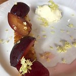 Divine browned butter almond cake with very ripe plums, mascarpone whipped and elder flowers