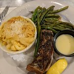 Rock Fish - pan seared, with mac & cheese and green beans