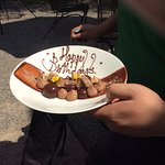 Our delicious complimentary birthday dessert.