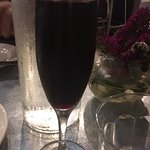 Generous pour of the Lambrusco