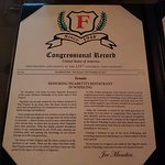 It must be good if it has Congressional recognition as the best Italian restaurant in WV.