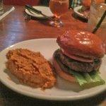 Burger with mashed sweet potato