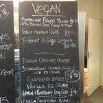 Vegan menu at The Allotment