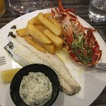 Grilled sea bass and lobster