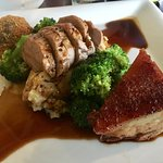 Pan Roast Pork Fillet, Crispy Belly, Black Pudding and Pork Bon Bon, Bubble and Squeak Mash, App