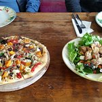 Vegetarian Pizza and Marm Chicken Salad