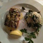 Halibut with spinach rice and capers