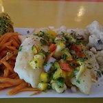 Grilled Hogfish with broccoli cake, ginger glazed carrots and mashed potatoes