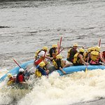 Our Raft going down one of the rapids and didn't loose a rider