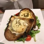 goats cheese open toasted sandwich