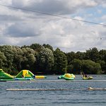 One end which shows the ski zip wire plus the stand alone inflatables