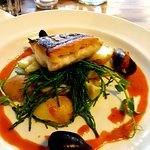 Hake fillet on samphire & Pembrokeshire potatoes with lobster sauce and crispy mussels. Perfecti