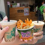bubble tea and fries